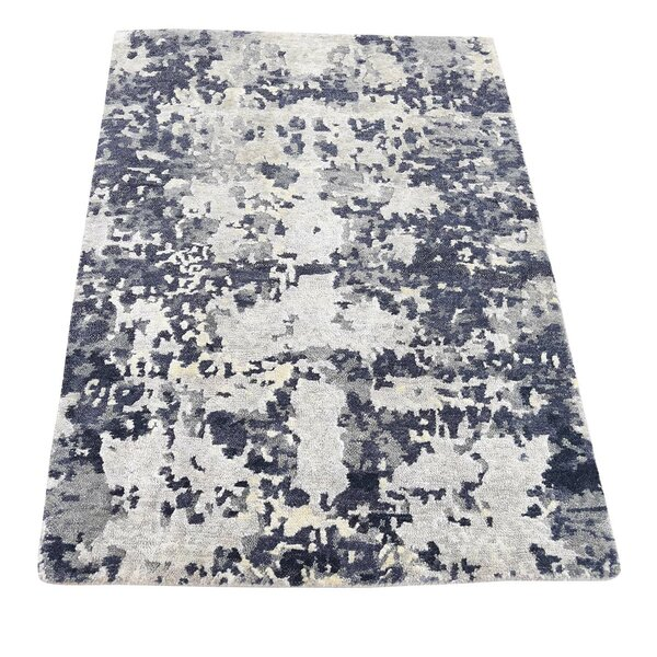 One-of-a-Kind Eddyville Hi-Lo Hand-Knotted Blue/Beige Area Rug by 17 Stories