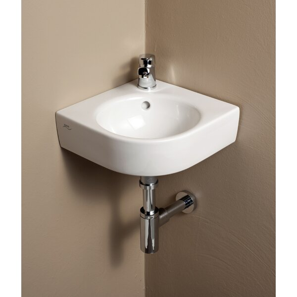 Comprimo Ceramic Specialty Wall-Mount Bathroom Sink with Overflow by Bissonnet