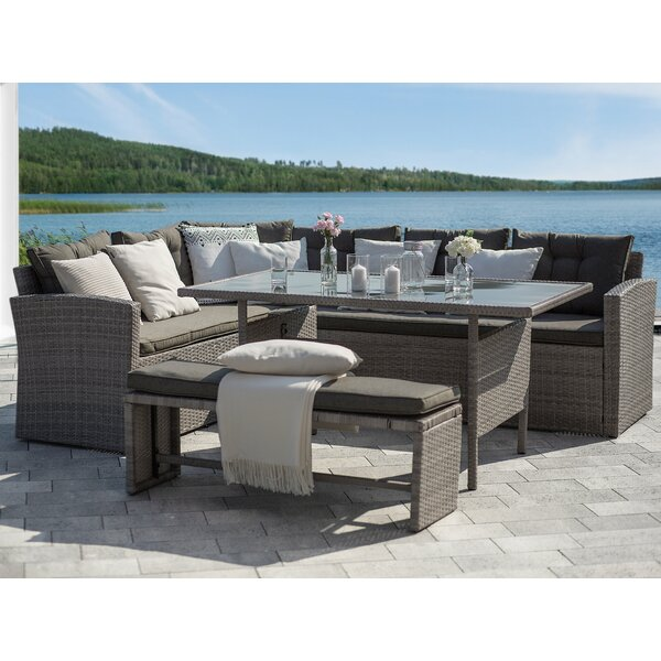 Binne 3-Piece Rattan Lounge Dining with Cushions by Latitude Run