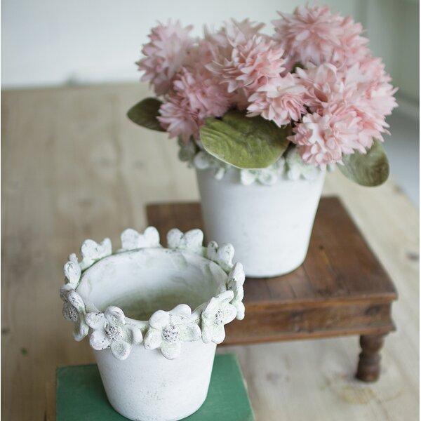 Giuliani Clay Flower 2 Piece Pot Planter Set by August Grove