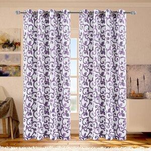 Ella Geometric Sheer Grommet Single Curtain Panel