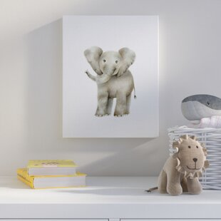 Happy Baby Elephant Illustration Wall Art By Harriet Bee