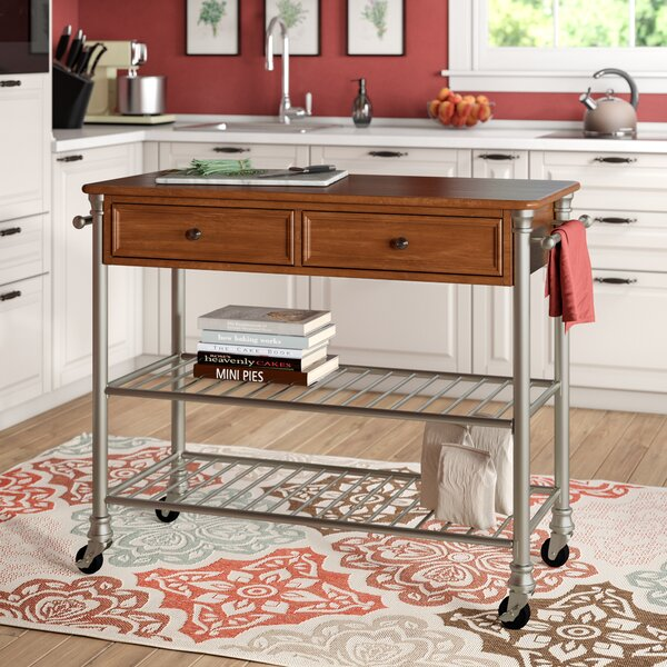 Kibbe Kitchen Cart with Manufactured Wood by Red Barrel Studio
