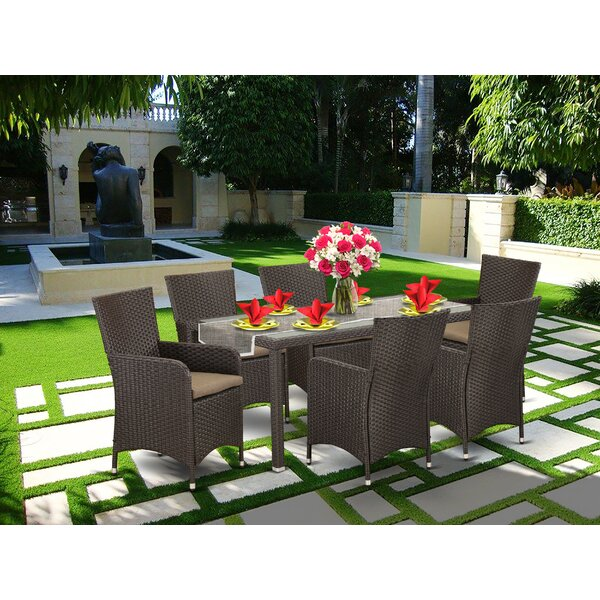 Toscano Outside Patio 7 Piece Dining Set with Cushions by Wrought Studio