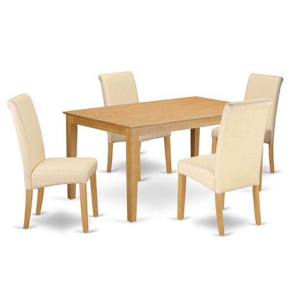 #2 Madelynn Kitchen Table 5 Piece Solid Wood Dining Set By Winston Porter Sale