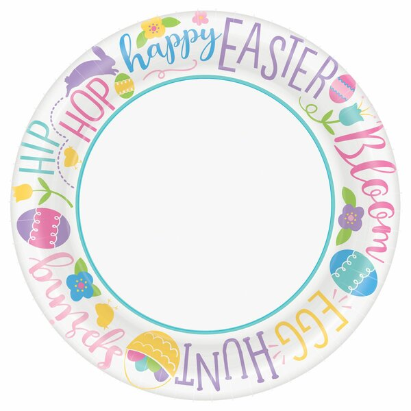 Hoppy Easter Paper Disposable Dinner Plate (Set of 120) by Amscan