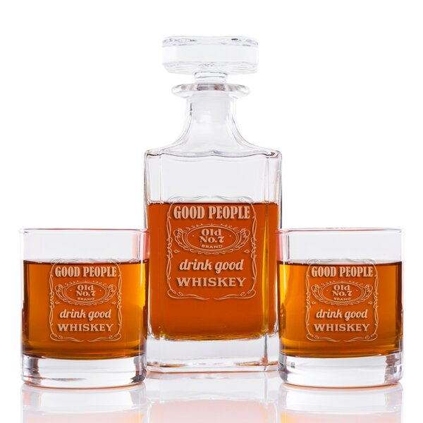 Sneller Engraved Good People Drink Good Whiskey Square 3 Piece Beverage Serving Set by Latitude Run