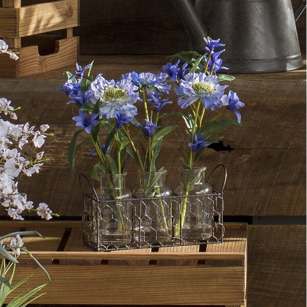 Scabiosa and Spike Flowers in Glass Milk Bottles in Wire Holder by Laurel Foundry Modern Farmhouse