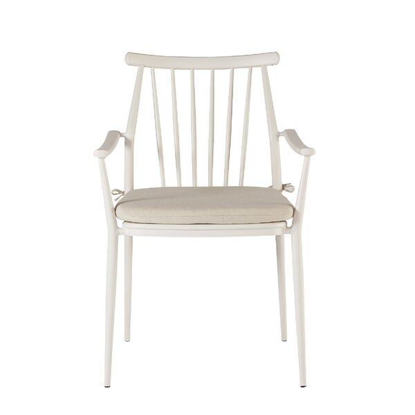 Asphodèle Patio Dining Chair with Cushion (Set of 2) by Gracie Oaks