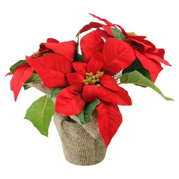 Artificial Poinsettia Flower Arrangement in Burlap Vase by The Holiday Aisle