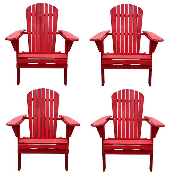 Whetsel Solid Wood Folding  Lightweight Adirondack Chair (Set of 4) by Highland Dunes Highland Dunes