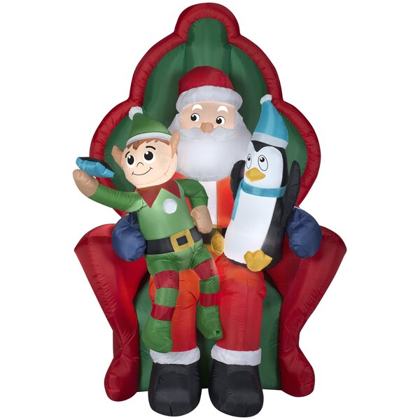 Santa with Elf and Penguin Christmas Oversized Figurine by The Holiday Aisle