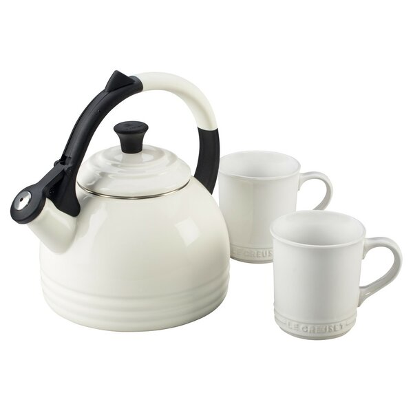 Enamel On Steel 3 Piece 1.7 Qt. Peruh Tea Kettle & Mug Set by Le Creuset