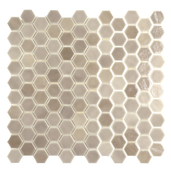 Onix 1 x 1 Glass Mosaic Tile in Blend Taupe Malla