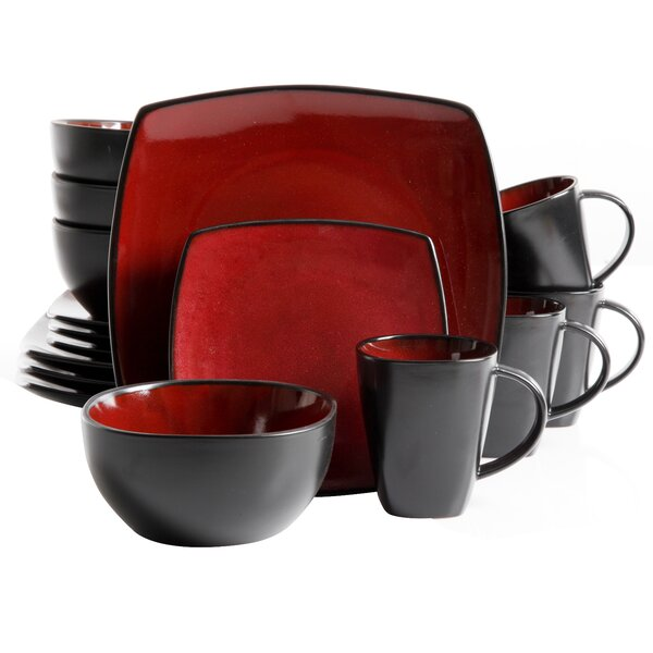 Gibson Essential Home Monaco 16 Piece Dinnerware Set, Service for 4 by Coca Cola