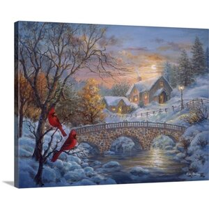 Christmas Art 'Winter Sunset' by Nicky Boehme Painting Print on Wrapped Canvas by Canvas On Demand