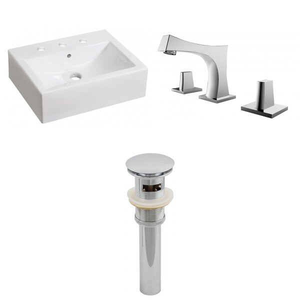 Ceramic Rectangular Bathroom Sink with Faucet and Overflow
