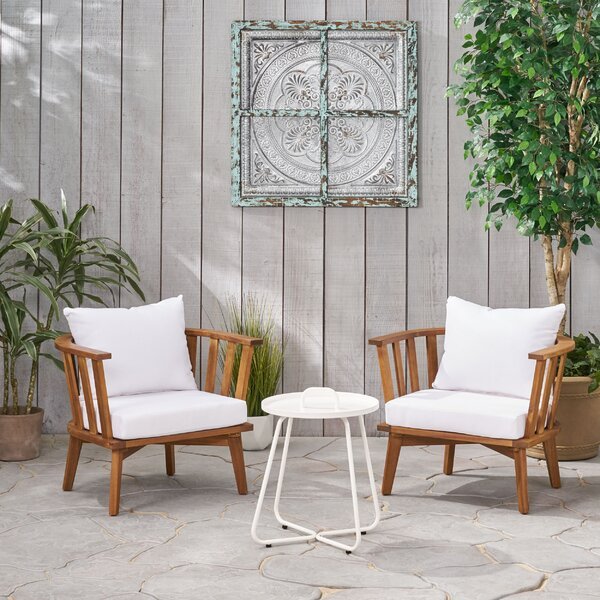 Rembert Outdoor 3 Piece Seating Group with Cushions by Highland Dunes