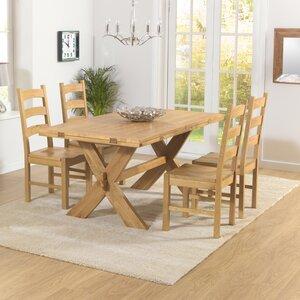 Essgruppe Rochelle mit ausziehbarem Tisch und 4 Stühlen von Home Etc