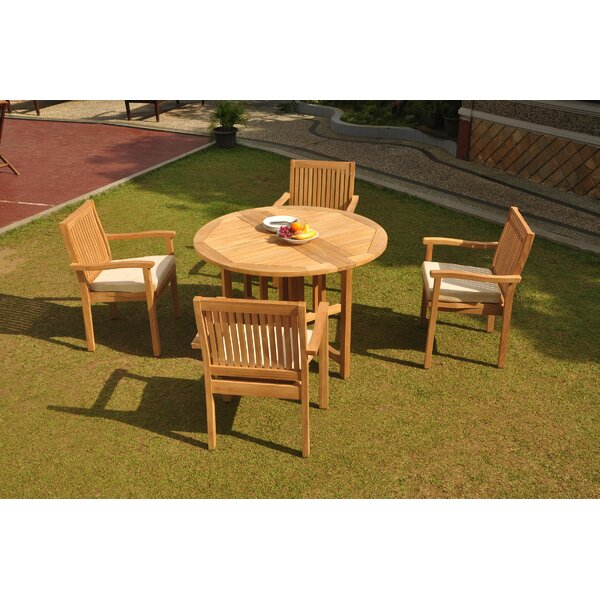 Giovani 5 Piece Teak Dining Set by Rosecliff Heights