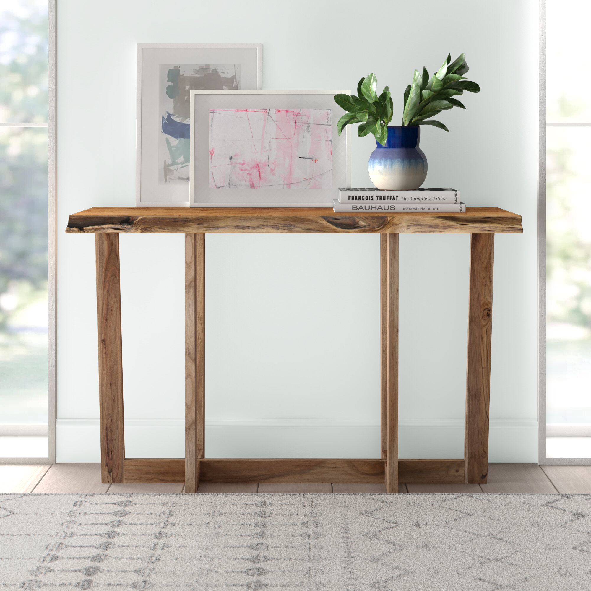 Details about  /Rustic Reclaimed Wood Console Sofa Table Distressed Finish Narrow Slim w//Shelf