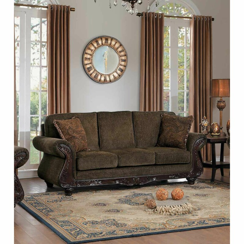 Traditional Style Scrolled Arms Sofa