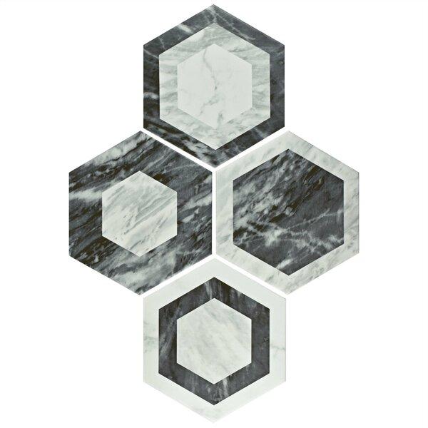 Karra Hexagon 7 x 8 Porcelain Field Tile in Black/White by EliteTile