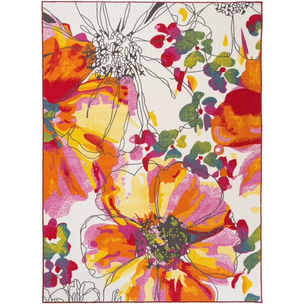 Princess Bright Flowers Orange/White Area Rug by Zipcode Design