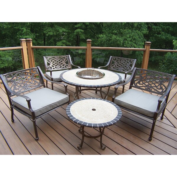 Tacoma Stone Art 5 Piece Dining Set with Cushions by Oakland Living