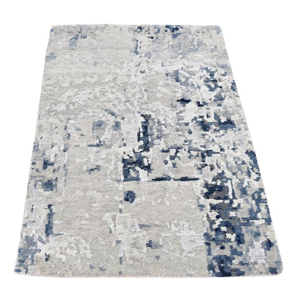One-of-a-Kind Hedgepeth Hi-Lo Hand-Knotted Gray Area Rug by Williston Forge
