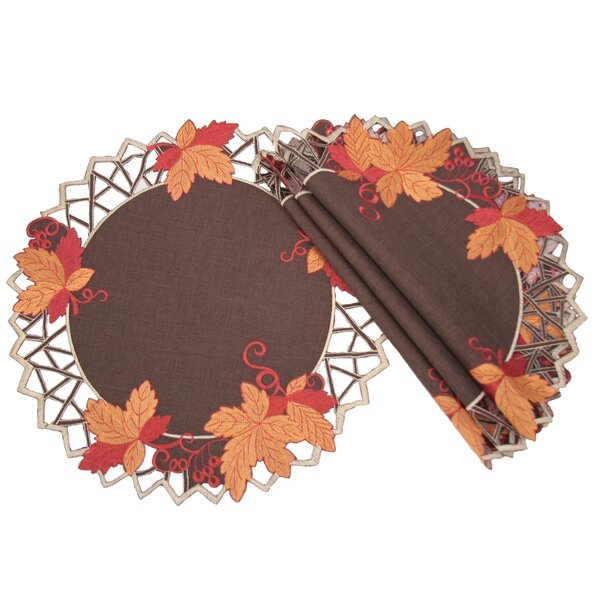 Harvest Hues Embroidered Cutwork Fall Placemat (Se