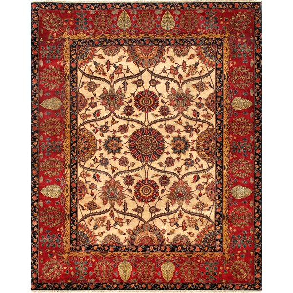 Agra Oriental Hand-Knotted Wool Red Area Rug