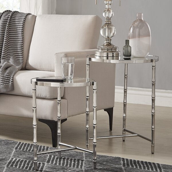 Conlon Bamboo-look Stainless Steel 2 Piece Nesting Tables By Mercer41