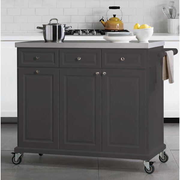 Philippe Kitchen Cart with Stainless Steel Top by August Grove