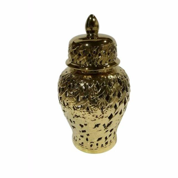 Elegantly Styled Pierced Ceramic Temple Storage Jar by One Allium Way