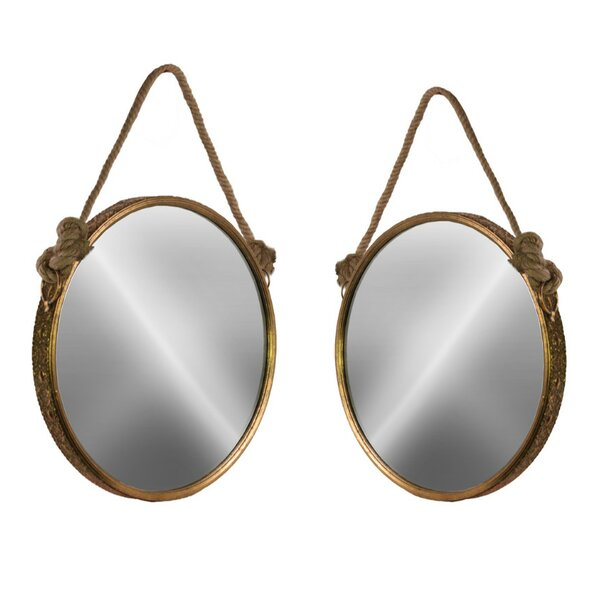 Zioune 2 Piece Antiqued Wall Mirror Set with Rope Handle by Longshore Tides