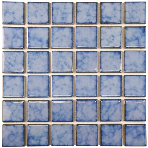 Arthur 2 x 2 Porcelain Mosaic Tile in Blue/White by EliteTile