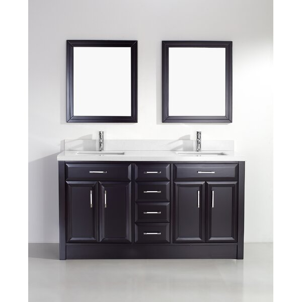 Caledonia 63 Double Bathroom Vanity Set with Mirror by Bauhaus Bath