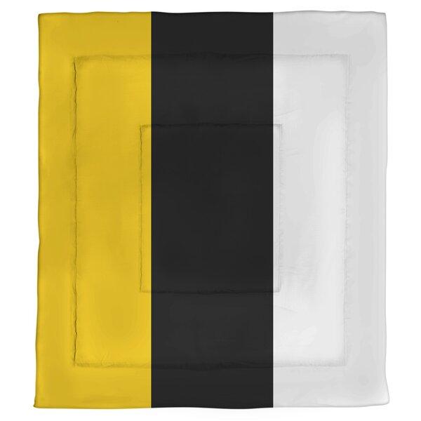 College Stripes Iowa Microfiber Single Reversible Comforter