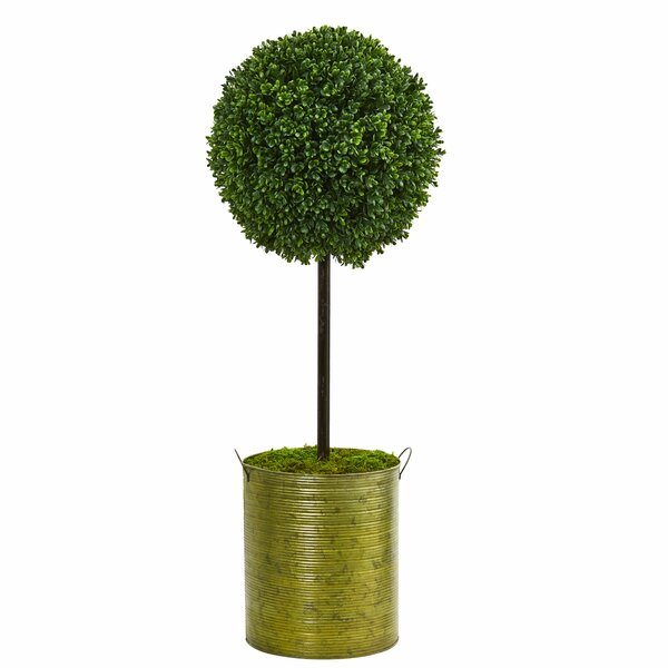 Artificial Floor Boxwood Topiary in Planter by Gracie Oaks