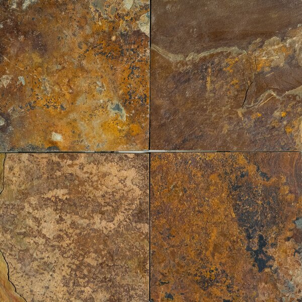 Rustic Yellow Commercial Natural Cleft Face, Gauged Back 16x16 Slate Field Tile