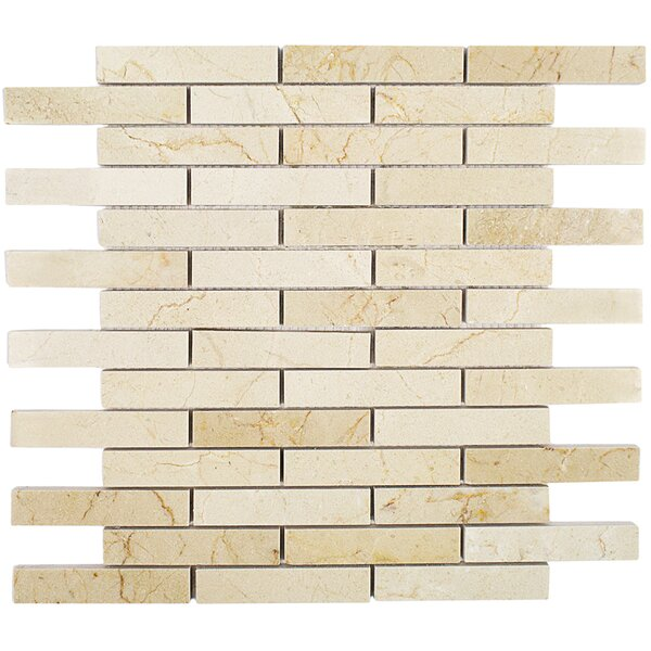 Large Brick 0.75 x 4 Marble Mosaic Tile in Crema Marfil by Splashback Tile