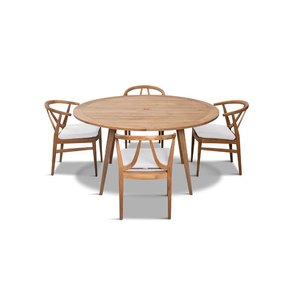 Albro 5 Piece Teak Dining Set With Sunbrella Cushions by Bungalow Rose