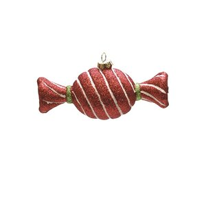 Merry and Bright Glitter Stripe Shatterproof Christmas Candy Ornament