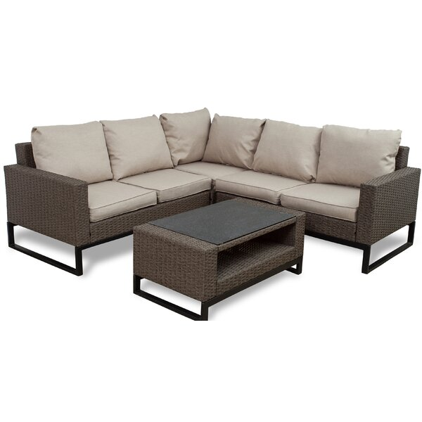 Bawden 4 Piece Rattan Conversation Set with Cushions by Gracie Oaks