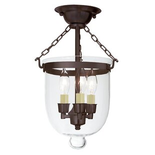 Compare prices 3-Light Small Bell Jar Semi Flush Mount By JVI Designs