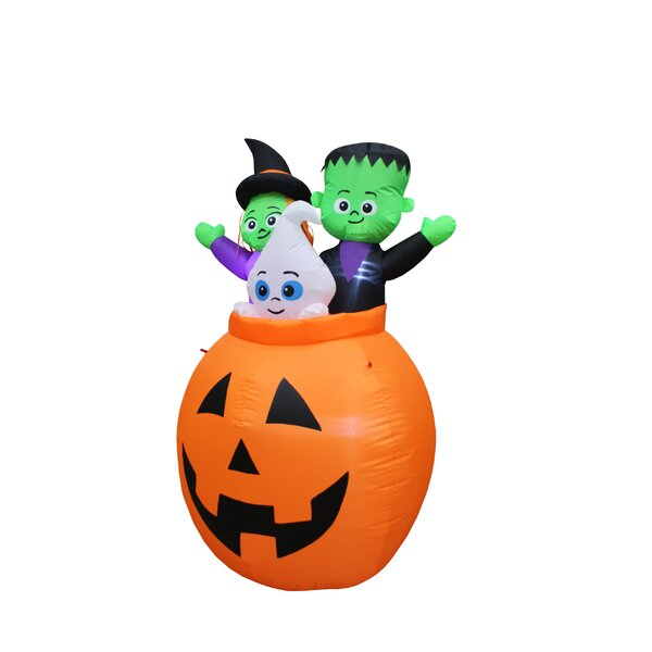 Pumpkin Basket with Baby Ghost, Witch and Monster Yard Halloween Inflatable by The Holiday Aisle