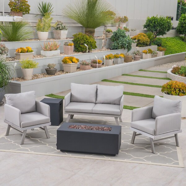 Bunny Outdoor Modern 5 Piece Sofa Seating Group with Cushions by George Oliver George Oliver