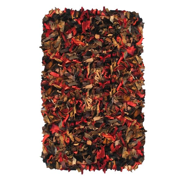 Shaggy Hand-Knotted Red/Brown Area Rug by Ess Ess Exports