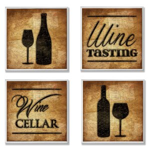 Wine Cellar and Tasting 4 Piece Textual Art Wall Plaque Set by Stupell Industries